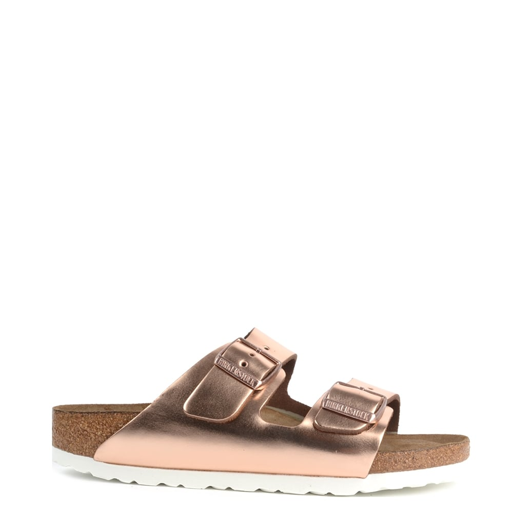 3633d62cdb2c Birkenstock Arizona Metallic Copper Soft Footbed Two Buckle Strap Sandal