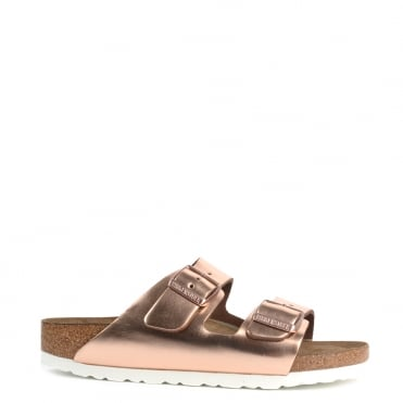 Arizona Metallic Copper Soft Footbed Two Buckle Strap Sandal