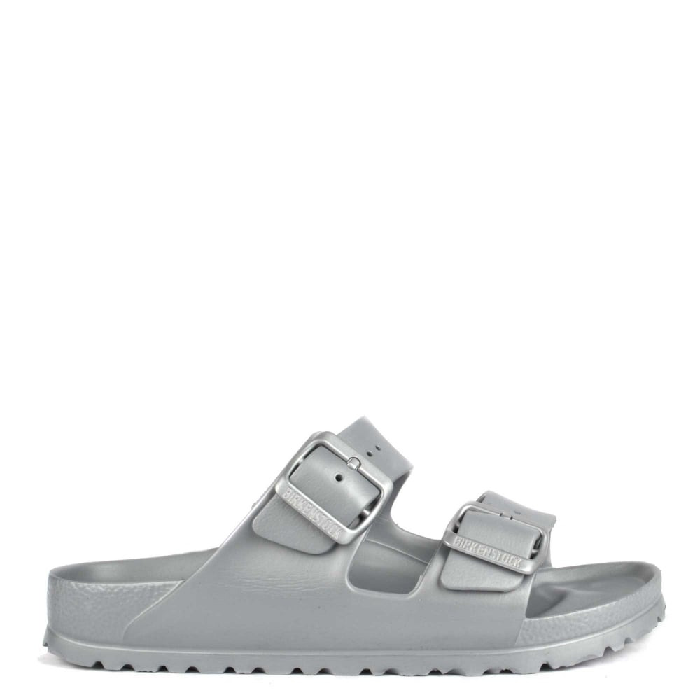 65f8032fec8 Birkenstock Arizona Metallic Silver Rubber Two Strap Sandal