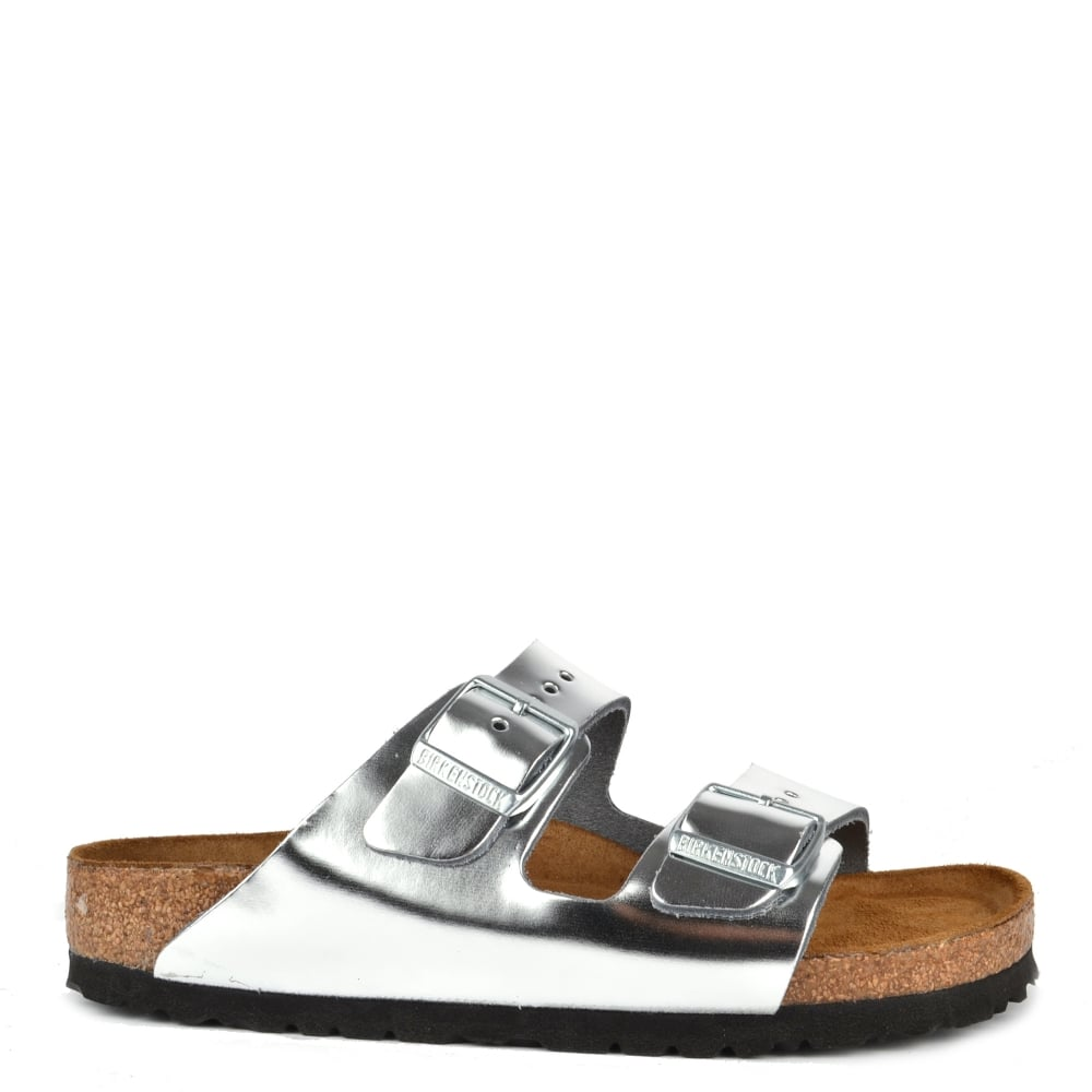 2d3c3f70c64 Arizona Metallic Silver Soft Footbed Two Buckle Strap Sandal