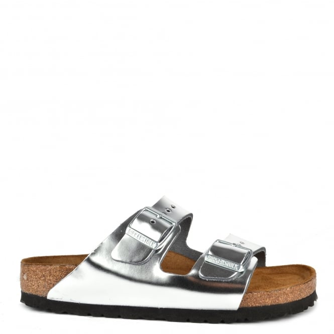 Birkenstock Arizona Metallic Silver Soft Footbed Two Buckle Strap Sandal
