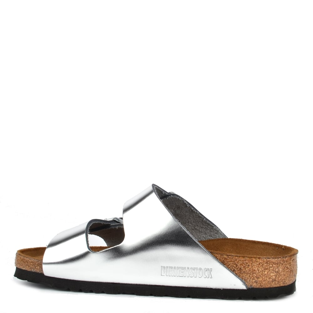 d93fc5dcf Arizona Metallic Silver Soft Footbed Two Buckle Strap Sandal