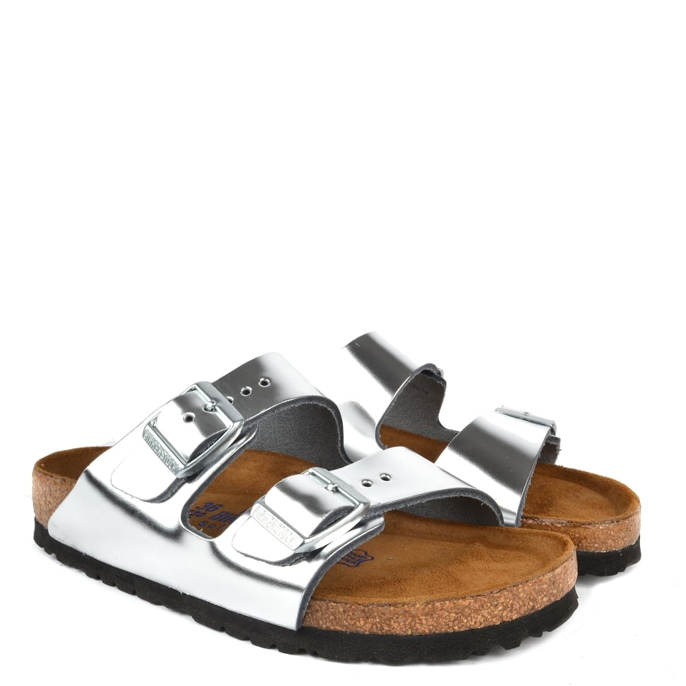 55abaff9de5 Arizona Metallic Silver Soft Footbed Two Buckle Strap Sandal