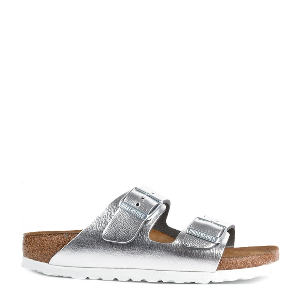 dde51a85c42 Birkenstock Arizona Metallic Silver Two Buckle Strap Sandal