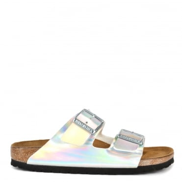 Arizona Mirror Silver Two Strap Buckle Sandal