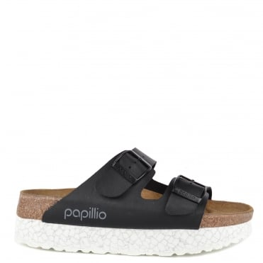 Arizona Monochrome Marble Black Two Strap Sandal