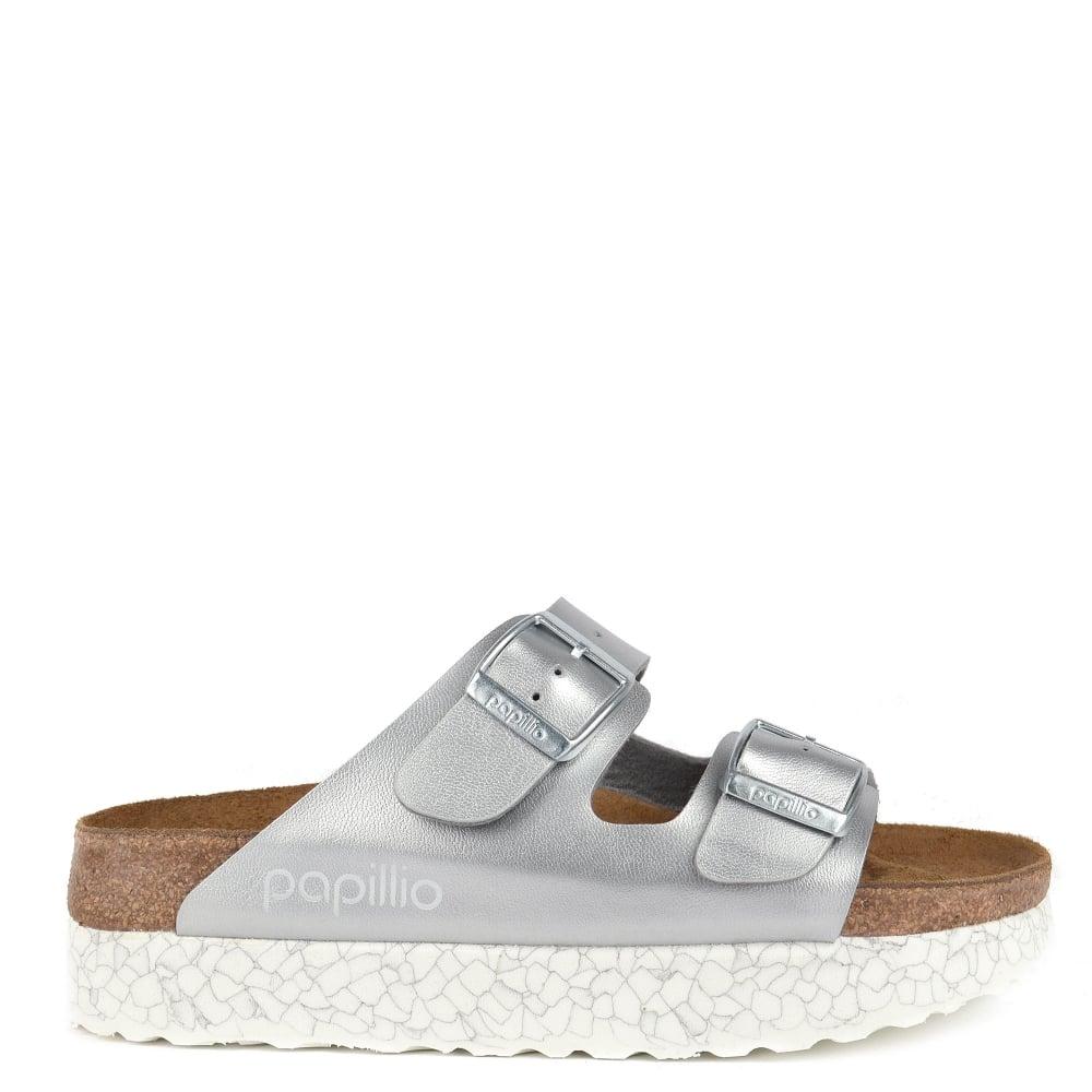fc61eac927b Birkenstock Arizona Monochrome Marble Silver Two Strap Sandal