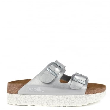 Arizona Monochrome Marble Silver Two Strap Sandal