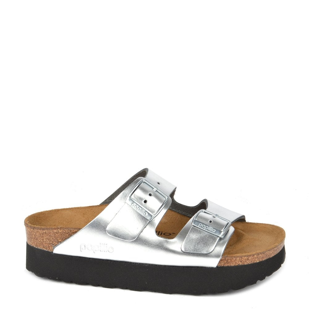 Arizona Papillio Metallic Silver Leather Platform Sandal