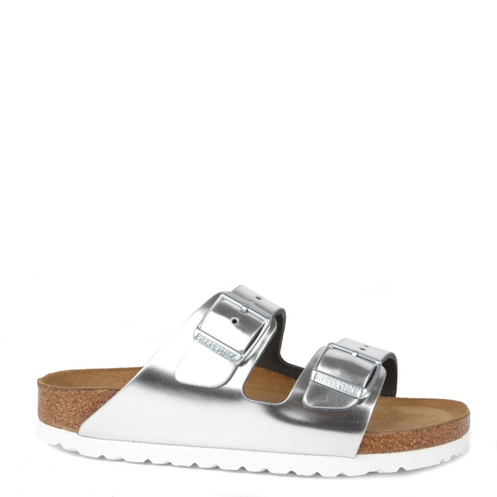 aedc79529d2 Arizona Silver Leather Soft Footbed Two Strap Sandal