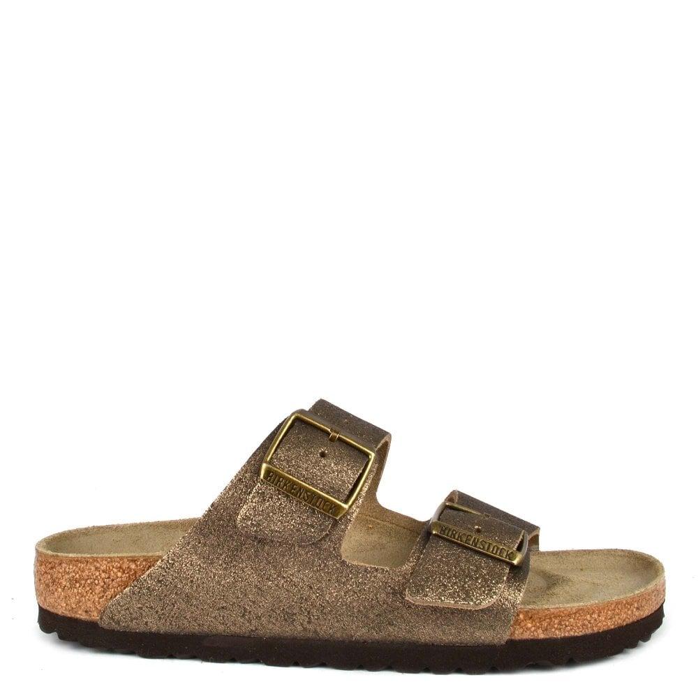 c1dbf4d84fce Birkenstock Arizona Washed Metallic Antique Gold Two Strap Sandal