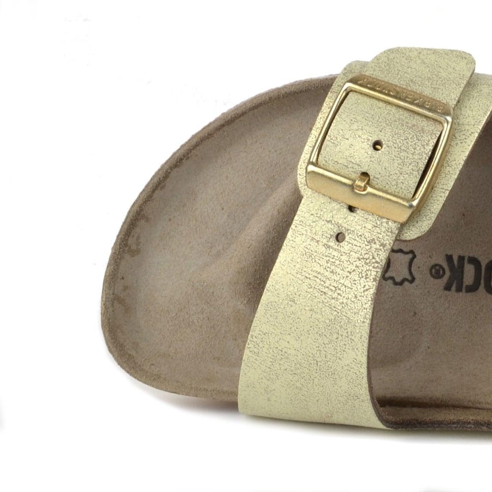 91a9cc1ac74f Birkenstock Arizona Washed Metallic Cream Gold Two Strap Sandal