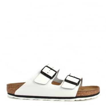 Arizona White Patent Two Strap Flat Sandal