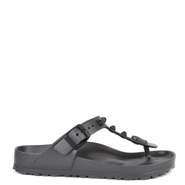 Gizeh Anthracite Studded Rubber Thong Sandal