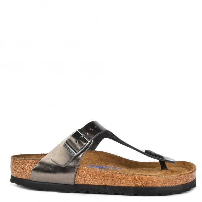Birkenstock Gizeh Metallic Anthracite Soft Footbed Thong Sandal