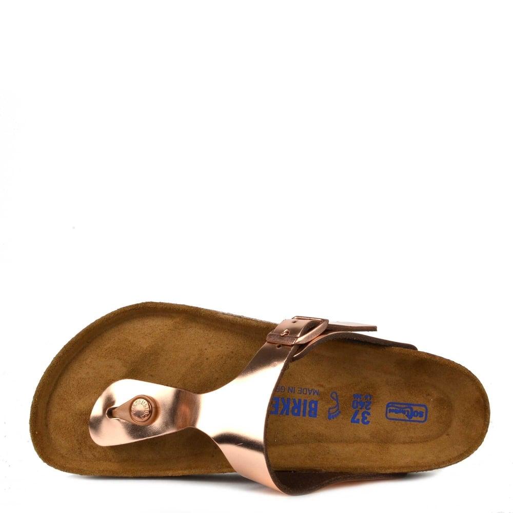 27c20647fcf Birkenstock Gizeh Metallic Copper Soft Footbed Thong Sandal