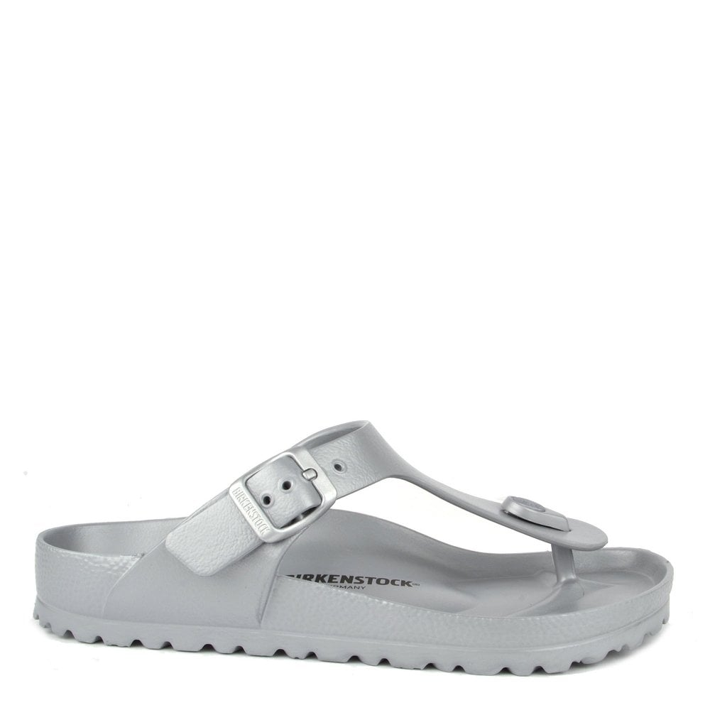 2f6b7bf0c4b Birkenstock Gizeh Silver Rubber Thong Sandal