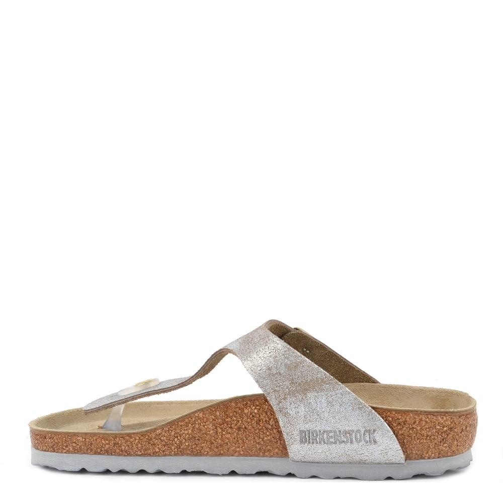 1d0e55753343 Birkenstock GIZEH Washed Metallic Blue Silver Thong Sandal