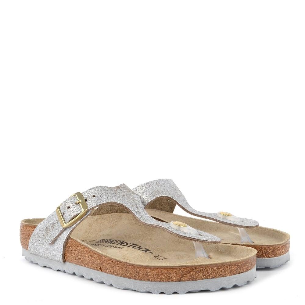 132088bf4c5 Birkenstock GIZEH Washed Metallic Blue Silver Thong Sandal