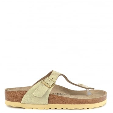 Gizeh Washed Metallic Cream Gold Thong Sandal
