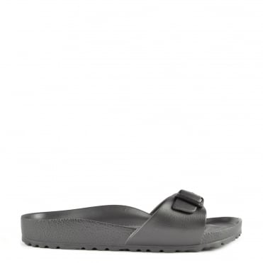 Madrid Anthracite Rubber Buckle Flat Sandal