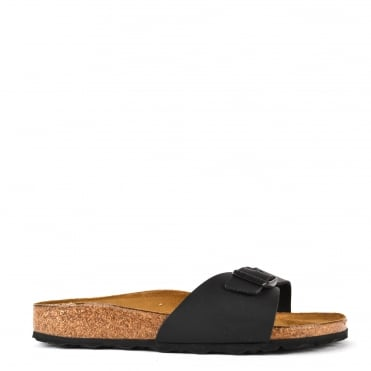 Madrid Black Leather Buckle Flat Sandal