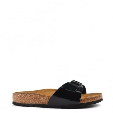 Madrid Black Patent Buckle Flat Sandal