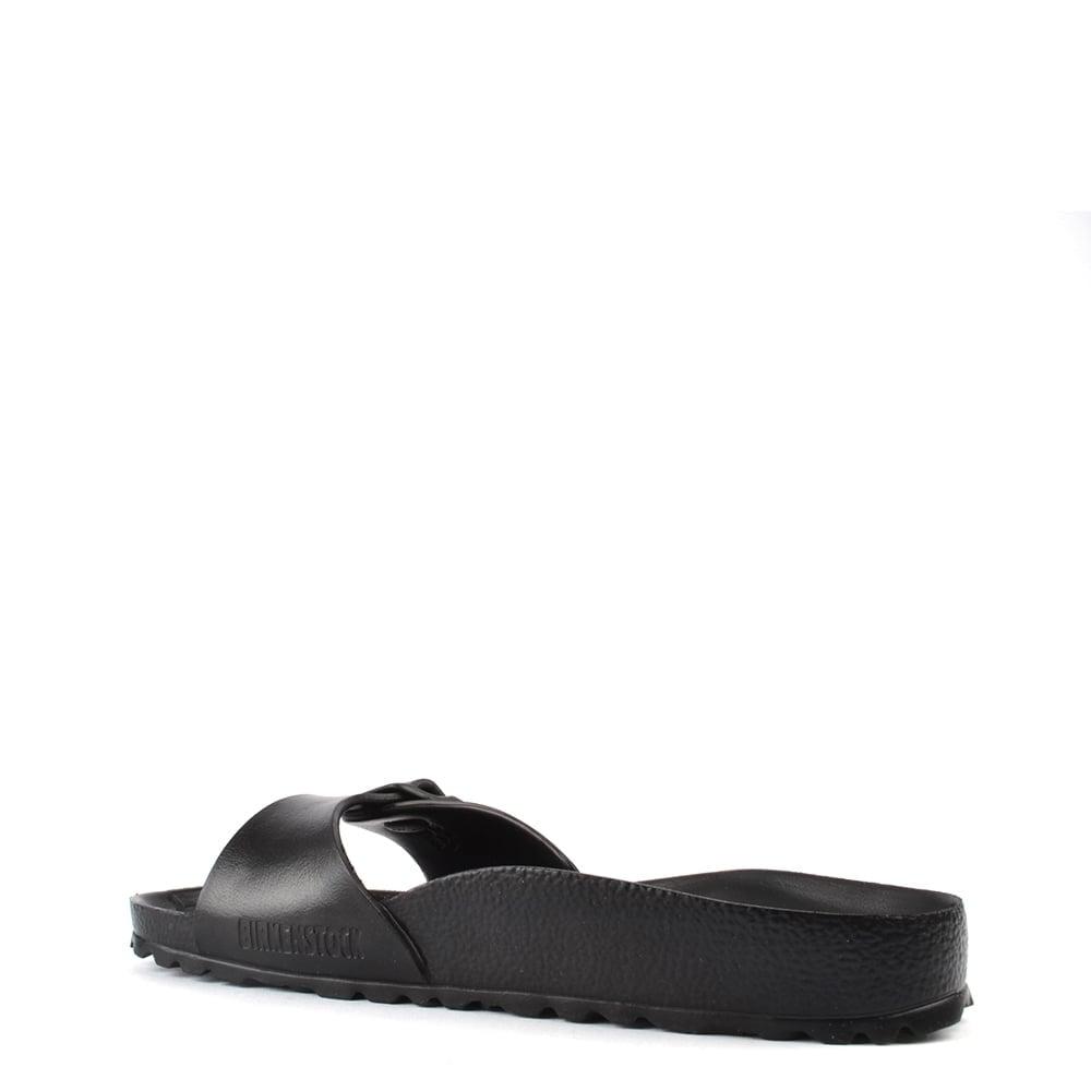 3b4e5272490 Birkenstock Madrid Black Rubber Buckle Flat Sandal