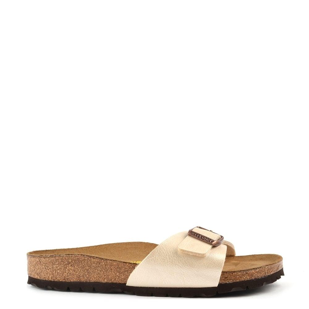 88799d9feb908 Birkenstock Madrid Graceful Pearl White Buckle Flat Sandal