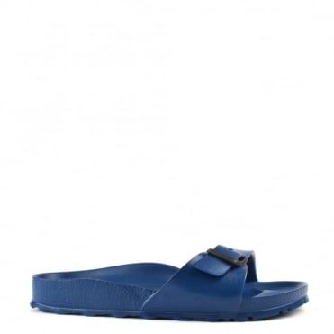 Madrid Navy Rubber Buckle Flat Sandal