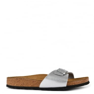 Madrid Silver Leather Buckle Flat Sandal