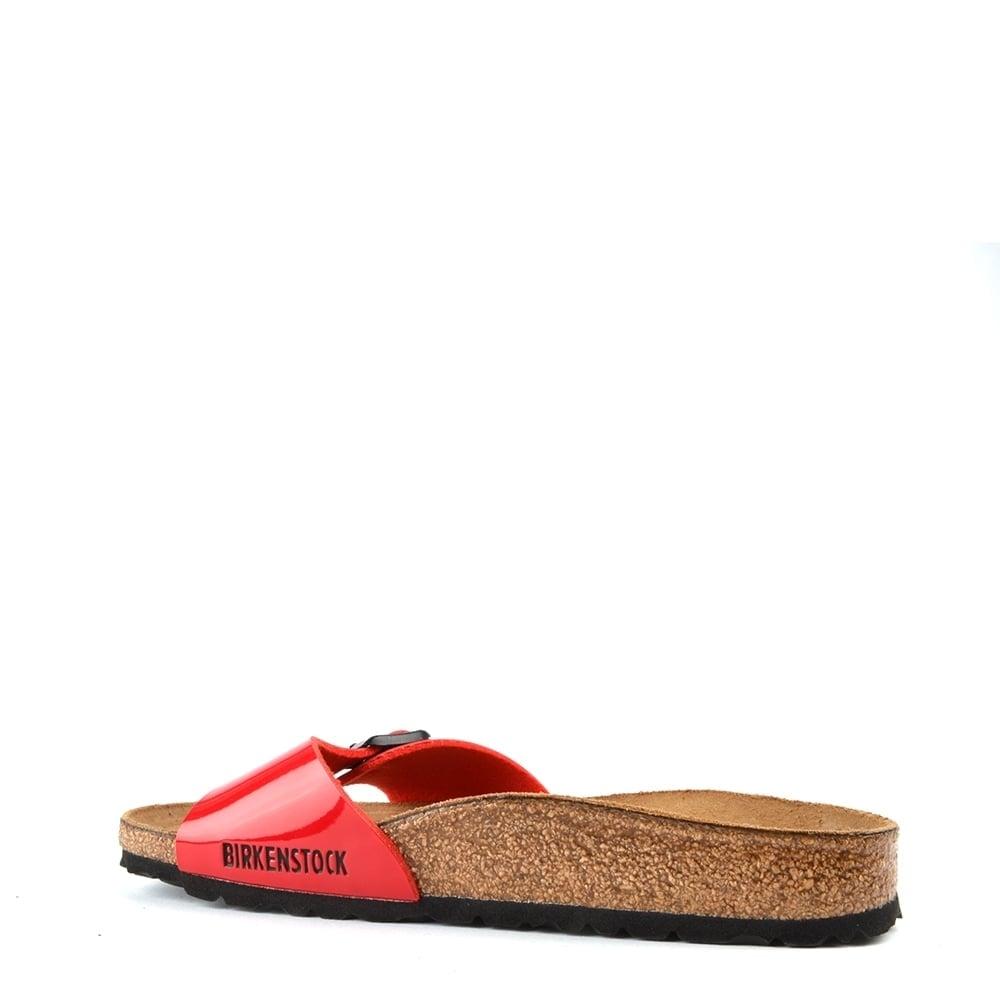 f81a13fb6e3bb Birkenstock Madrid Tango Red Patent Buckle Flat Sandal