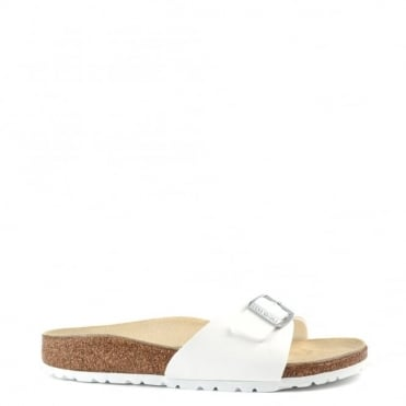 Madrid White Buckle Flat Sandal