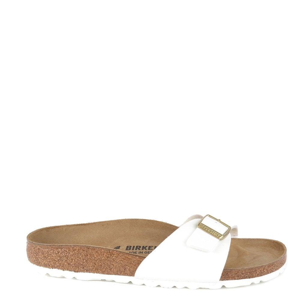 a218cbf2b443 Birkenstock Madrid White Patent Birko Flor Flat Sandal