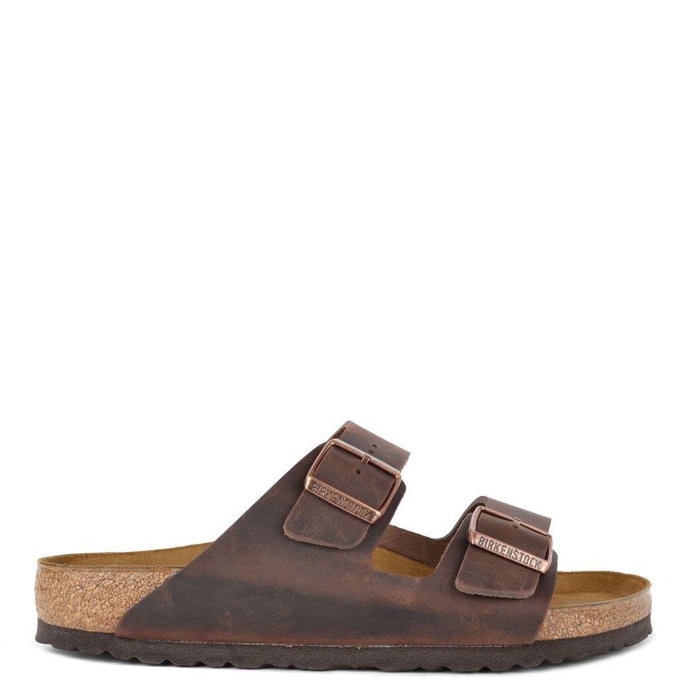 408a27566cd Birkenstock Mens' Arizona Habana Oiled Leather Two Strap Sandal