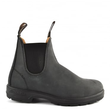 Unisex 587 Rustic Black Leather Boot