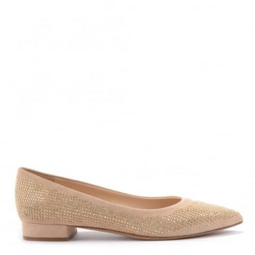 Cipria Suede Diamante Studded Flat