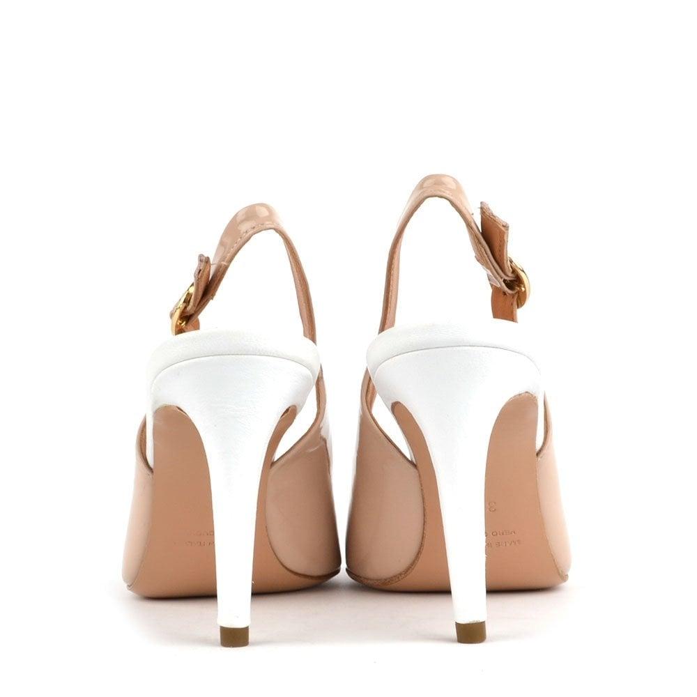 0a4f396f66 Campo Dei Fiori | Nude and White Leather Heeled Slingbacks