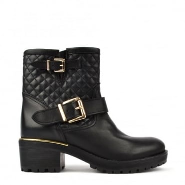 Quilted Black Leather Ankle Boot with gold trim