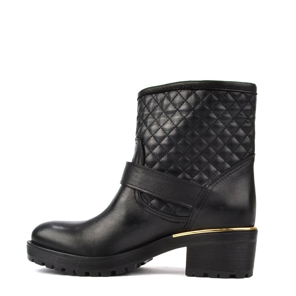 56fa3ad4d10 Quilted Black Leather Ankle Boot with gold trim