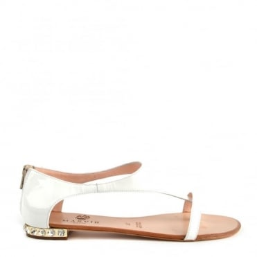 White Patent Leather T-Strap Sandal With Jewel Heel