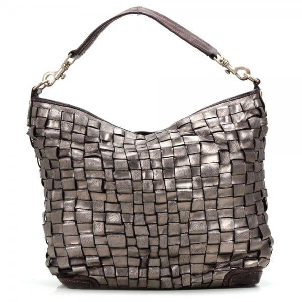 Campomaggi Metallic Silver Woven Leather Bag