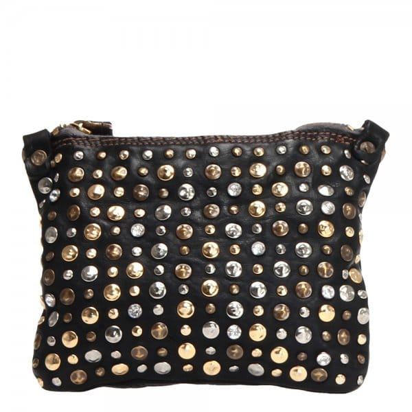 Campomaggi Small Black Leather Shoulder Bag With Studs