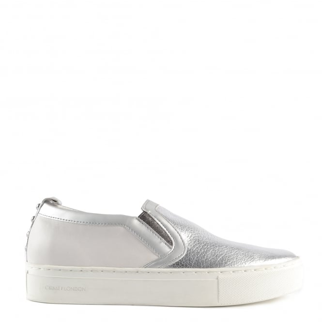 Crime London Clyde Silver and White Leather Slip On Trainer