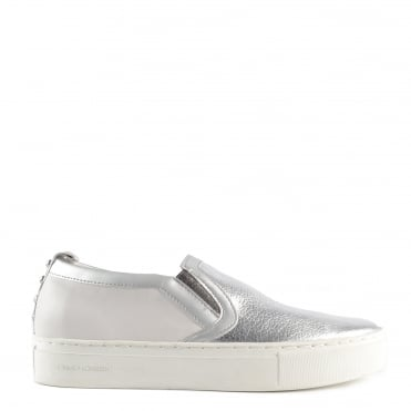 Clyde Silver and White Leather Slip On Trainer