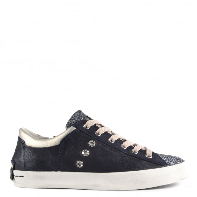 Crime London Faith Blue Leather and Glitter Low Top Trainer