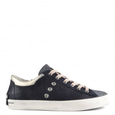 Faith Blue Leather and Glitter Low Top Trainer