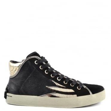 Faith Hi Explosion Black Leather Hair Hi-Top Trainer
