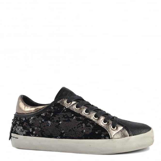 Crime London Faith Lo Black Sequin Trainer