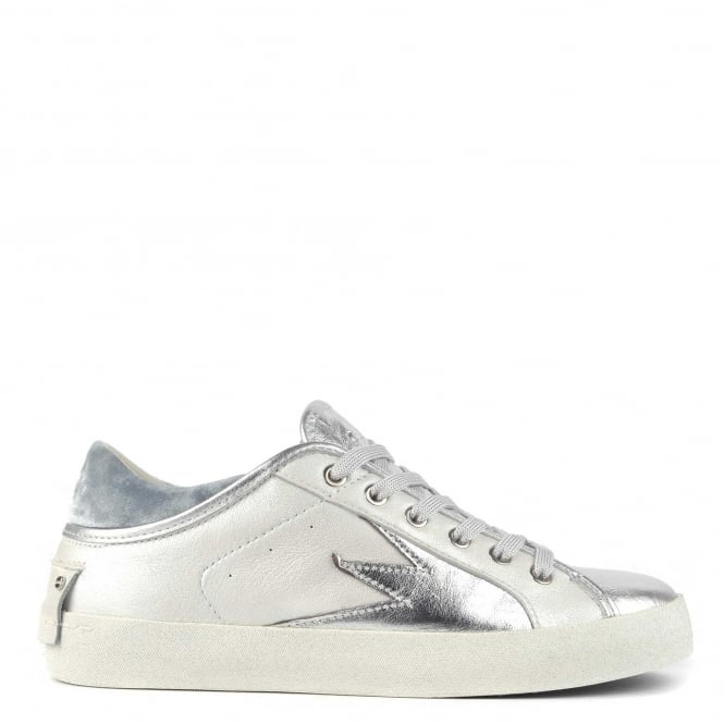 Crime London Faith Lo Explosion White With Blue Velvet Trainer